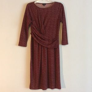 Dresses & Skirts - Talbots Faux Wrap Stretchy Red Copper Midi Dress